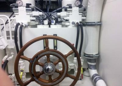 Hydromar steering gear for twin rudder system